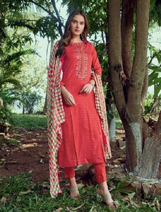 Embroidered Cotton Un-Stitch Suit - S00227