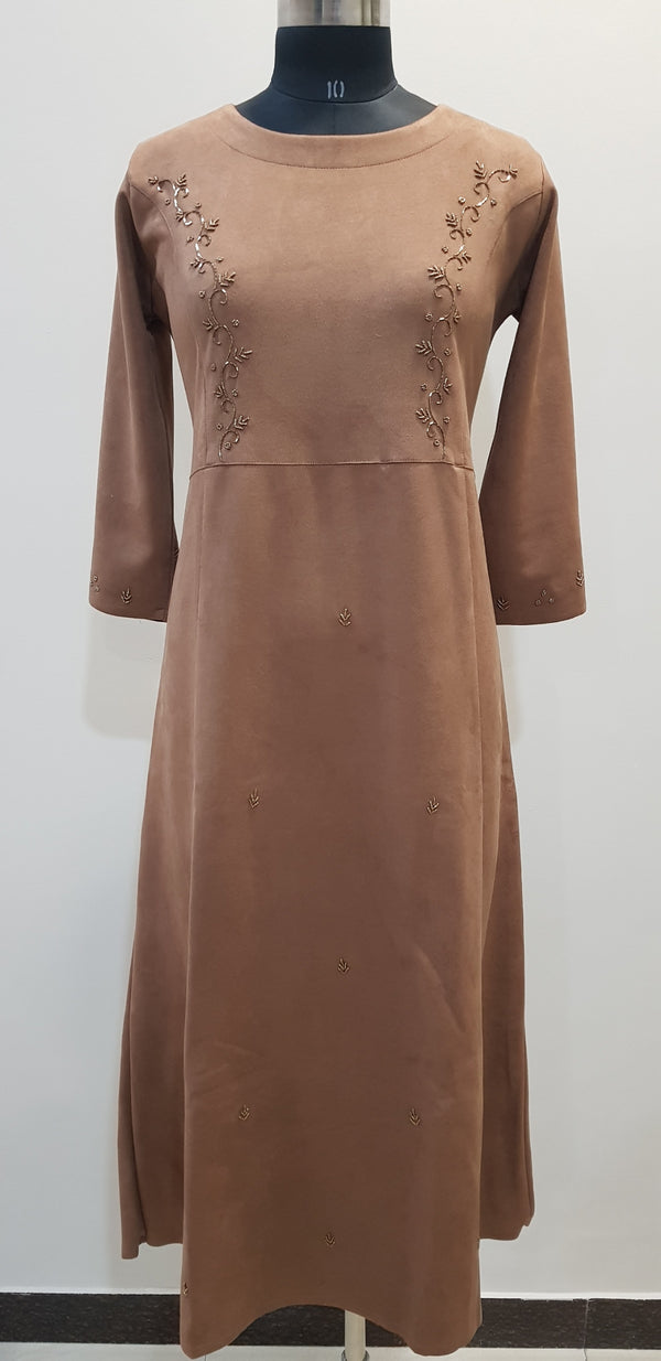 Embroidered Woollen Dress - W00274