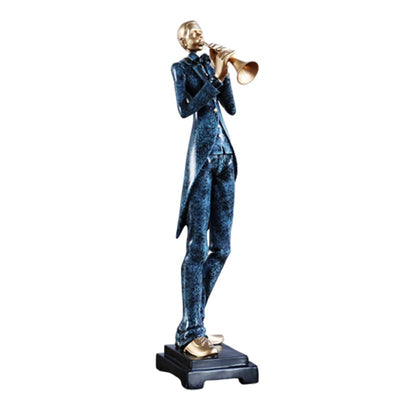 Sculpture Jazz trompettiste bleu