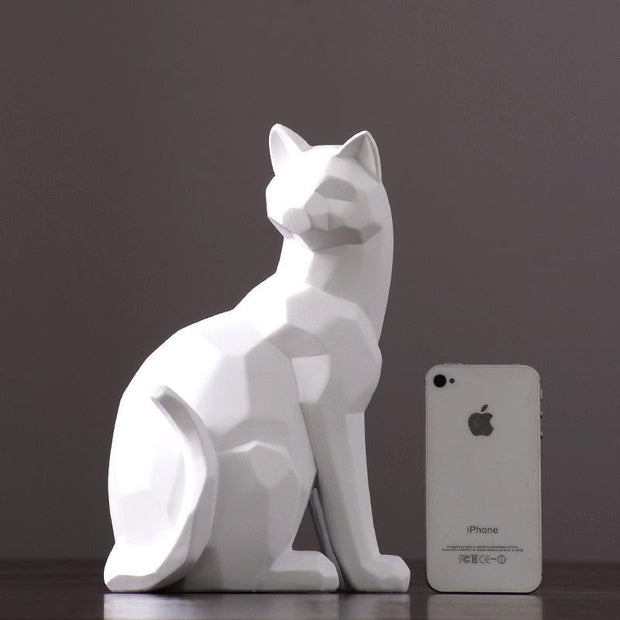 Statue Chat Moderne blanc