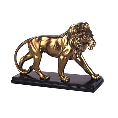 Statue Lion Achat or