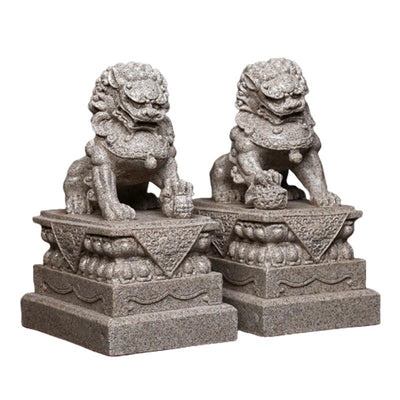Statue Lion Asiatique gris