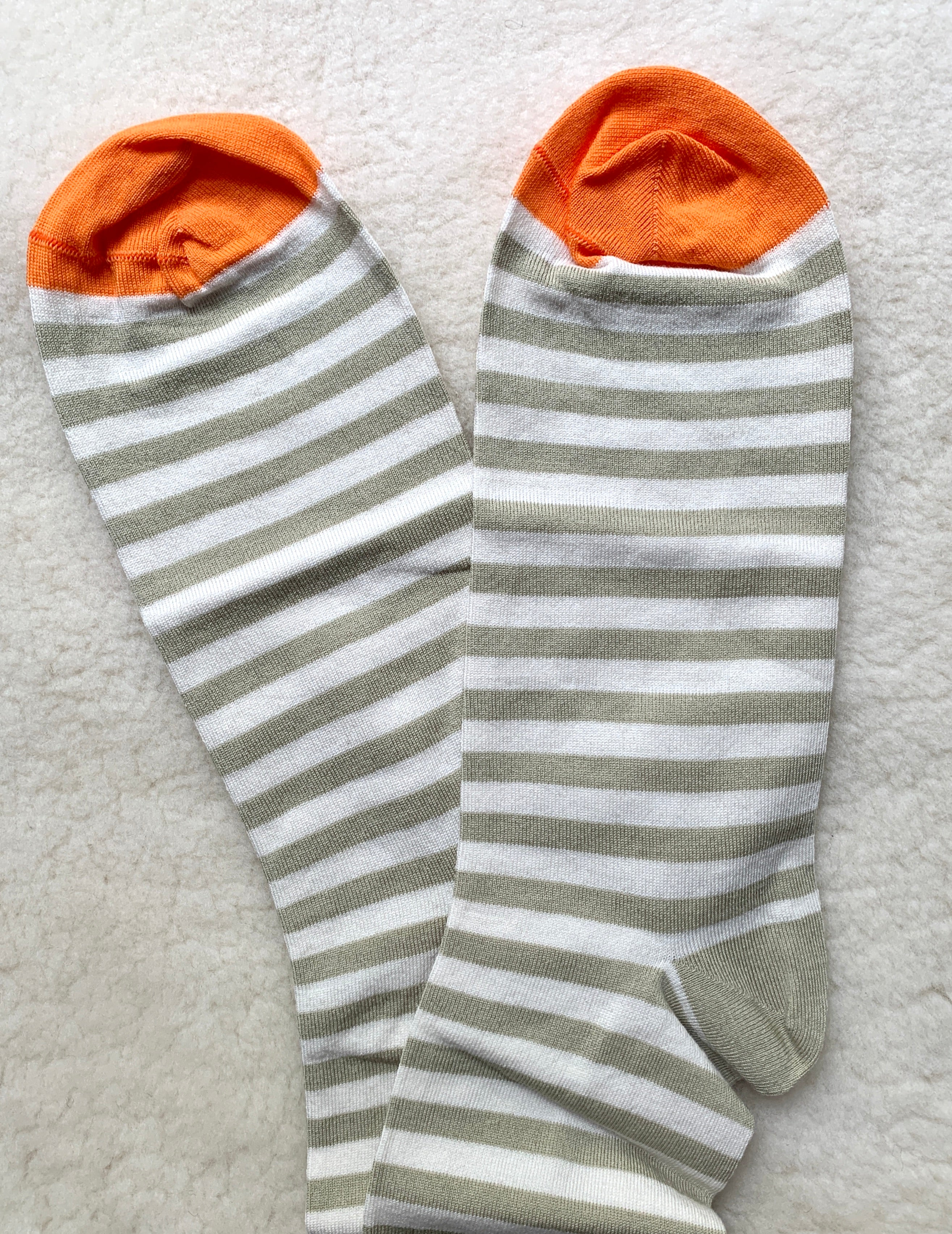 Bonne Maison Socks: Men's: Pale Olive Stripe