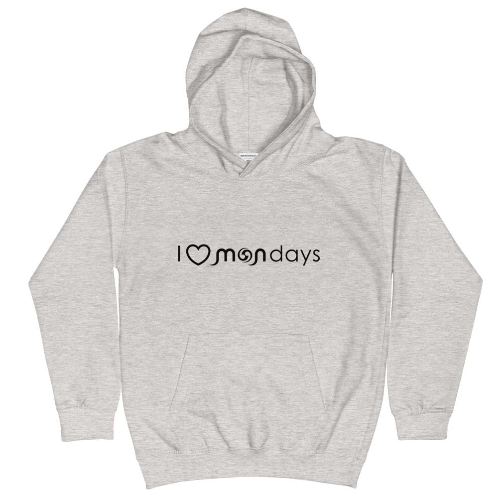 I Love Mondays Black Kids Hoodie
