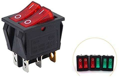 KCD2 Double Boat Rocker Switch 6 Pin On-Off (Red) - BESOMI ELECTRONICS