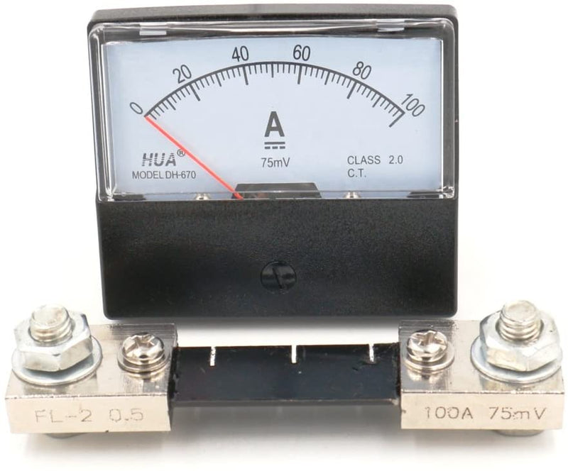 DH-670 / 100A : Analog Panel AMP Current Ammeter Meter Gauge DH-670 0-100A DC and Shunt