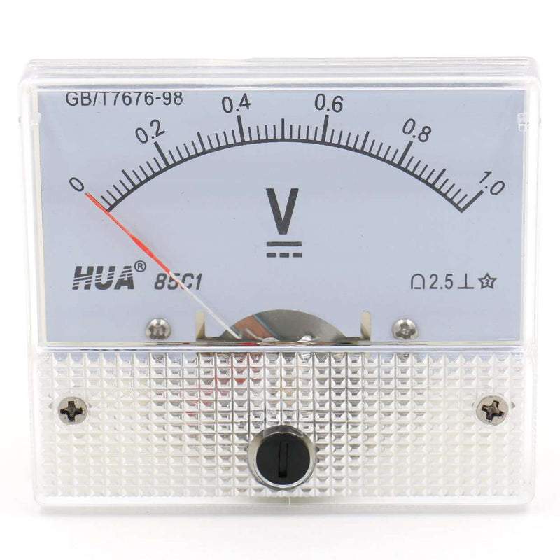85C1 / 1V Rectangle Panel Mounted Voltage Meter Voltmeter Tester DC 0-1V Class 2.5 White - BESOMI ELECTRONICS