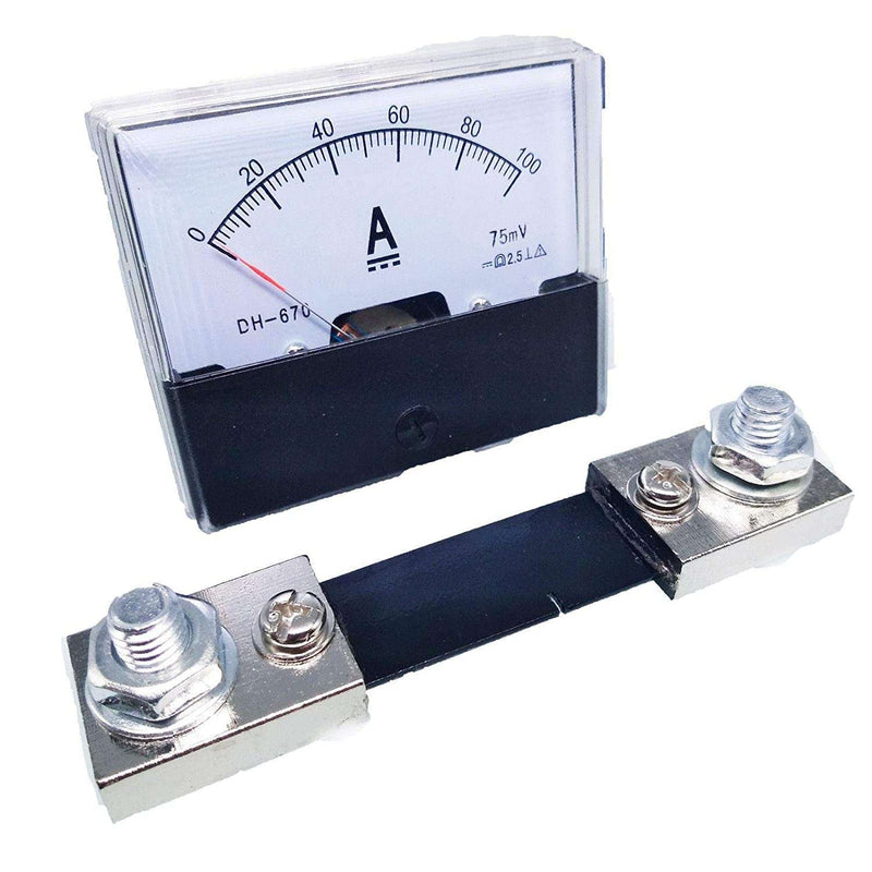 DH-670 / 100A : Analog Panel AMP Current Ammeter Meter Gauge DH-670 0-100A DC and Shunt - BESOMI ELECTRONICS