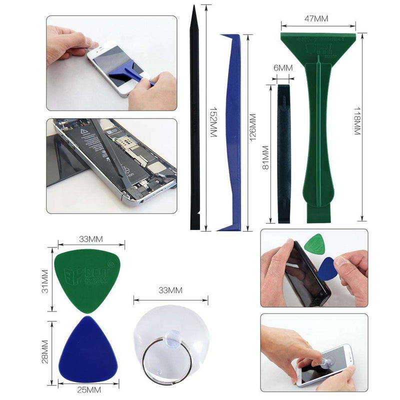 BST-288 : 12-in-1 Repaired Opening Disassemble Tool Kit for Iphone / Ipad - Green + Blue + More - BESOMI ELECTRONICS