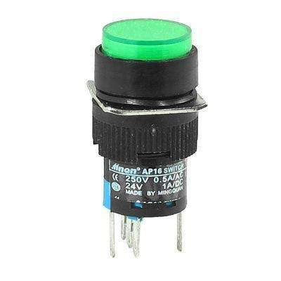 AP16  ON/OFF GREEN ROUND : DC 24V Green Indicatior Light Auto Locking Push Button Switch - BESOMI ELECTRONICS