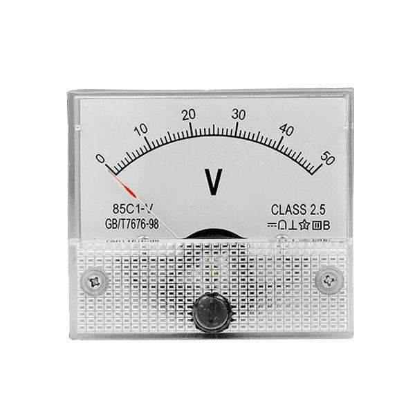 PANEL DC VOLTAGE 50VD - Gauge 0-50VDC Analog Panel Meter Voltage - BESOMI ELECTRONICS