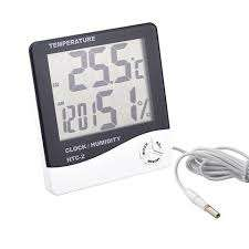 HTC-1 Humidity Time Display Meter with Alarm Clock, Wall Mount or Table Top, Multicolour - BESOMI ELECTRONICS