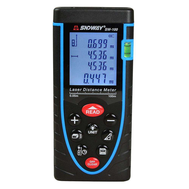 SW-M100 100m (Max. Measure Range) Digital Class II Laser Distance Meter Built-In Bubble Level To Make Measuring More Precisely - BESOMI ELECTRONICS