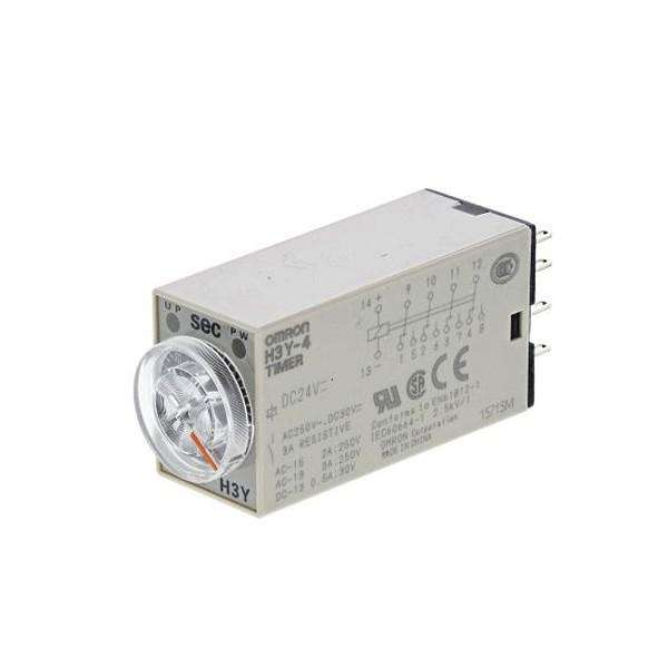 H3Y-4 DC24V 30S Output Time-limit: 4PDT, Power ON-delay, Time range: 1 to 30 s (1 range), 14-pin
