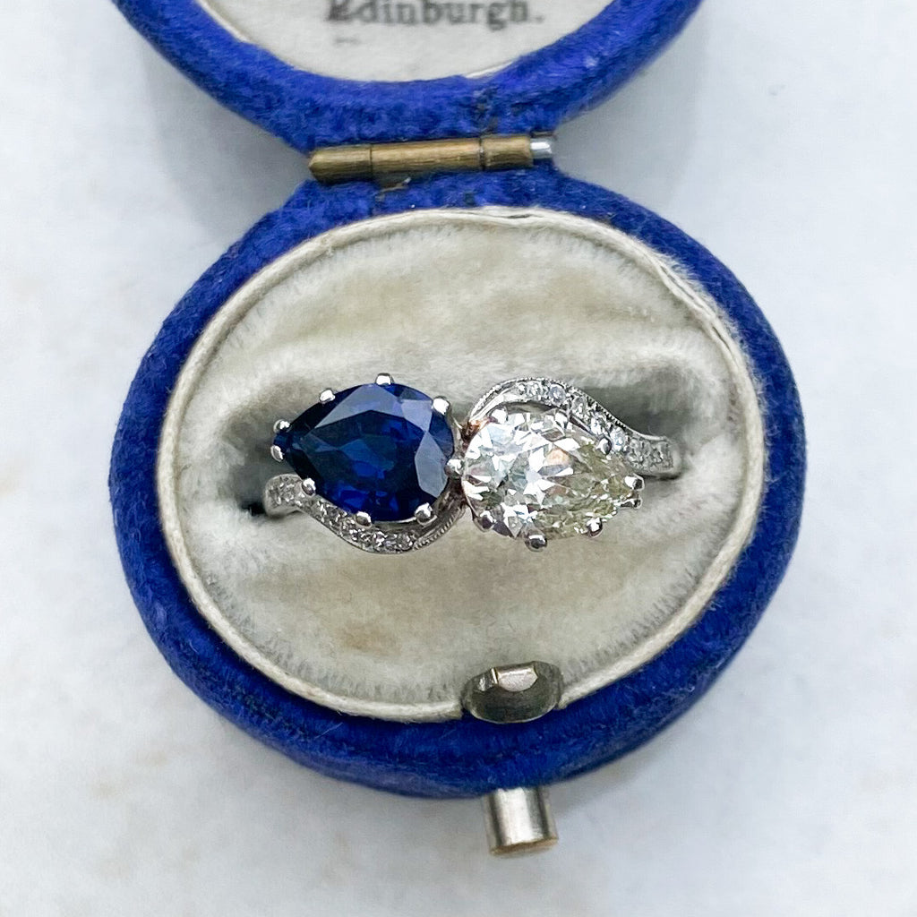1.50 ct Sapphire and Diamond Old Pear Cut Toi et Moi Ring; Platinum
