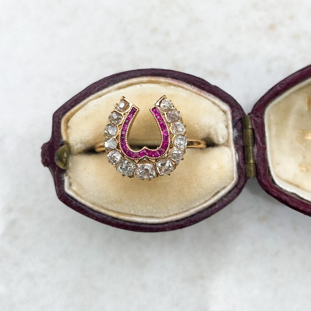 Ruby and 0.50ct Diamond Horseshoe Conversion Ring; 18ct gold, Victorian era
