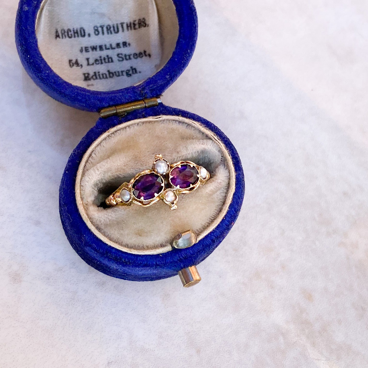 Amethyst and Natural Pearl Gold RIng; mid Victorian
