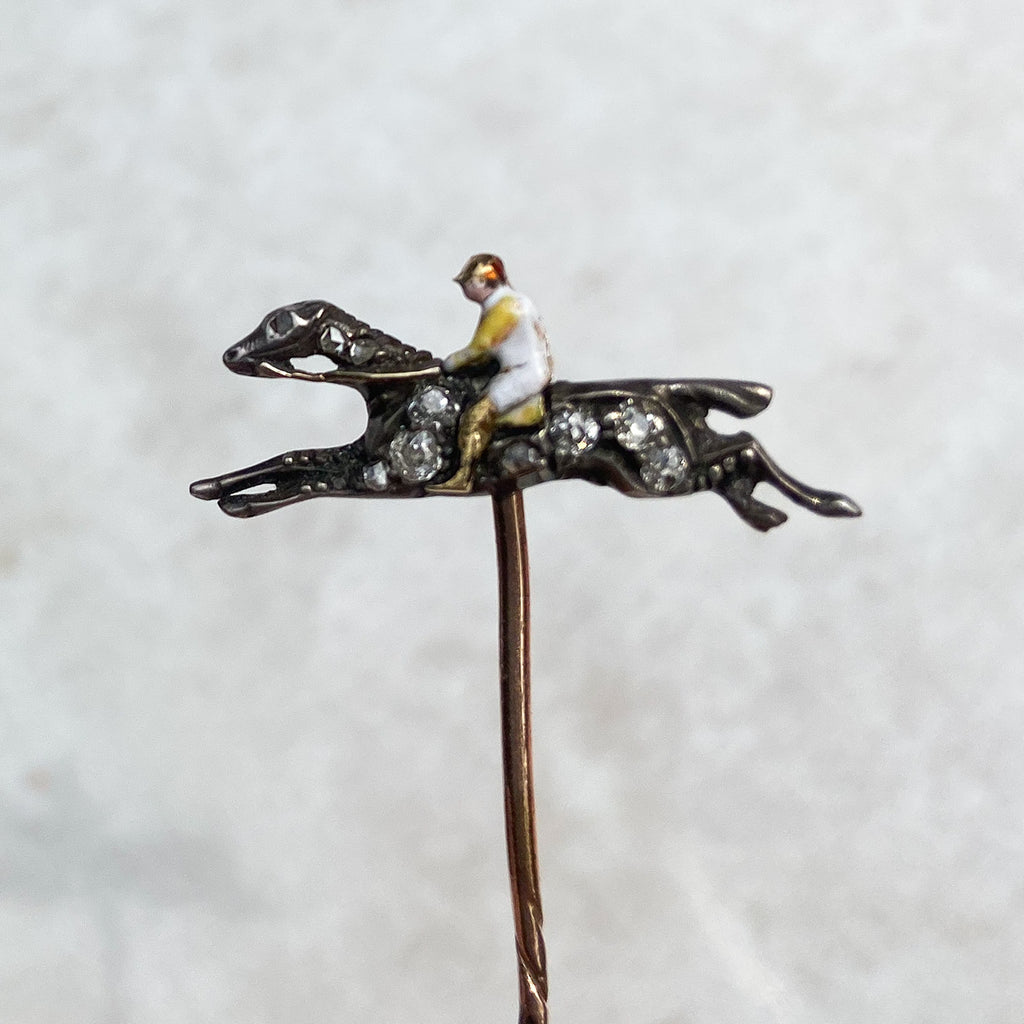 Silver, Gold and Diamond Enamel Jockey Stick Pin; Late Victorian