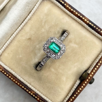 Emerald and Diamond Art Deco Style Ring