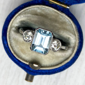 1.50ct Aquamarine and Diamond 3 stone ring