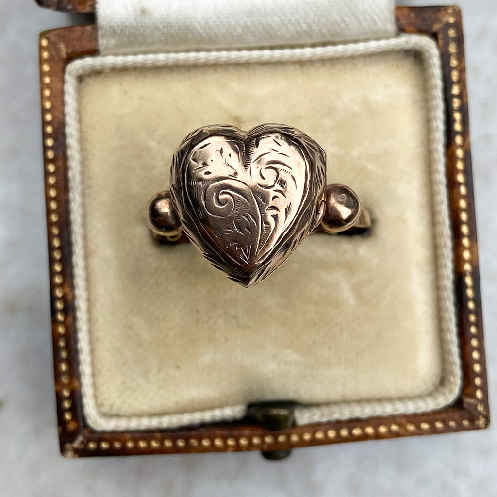 Antique Gold Loveheart Locket Ring