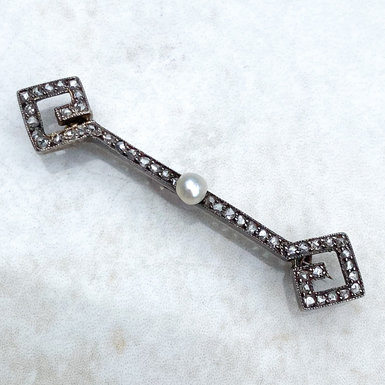 Victorian Pearl and Diamond Brooch