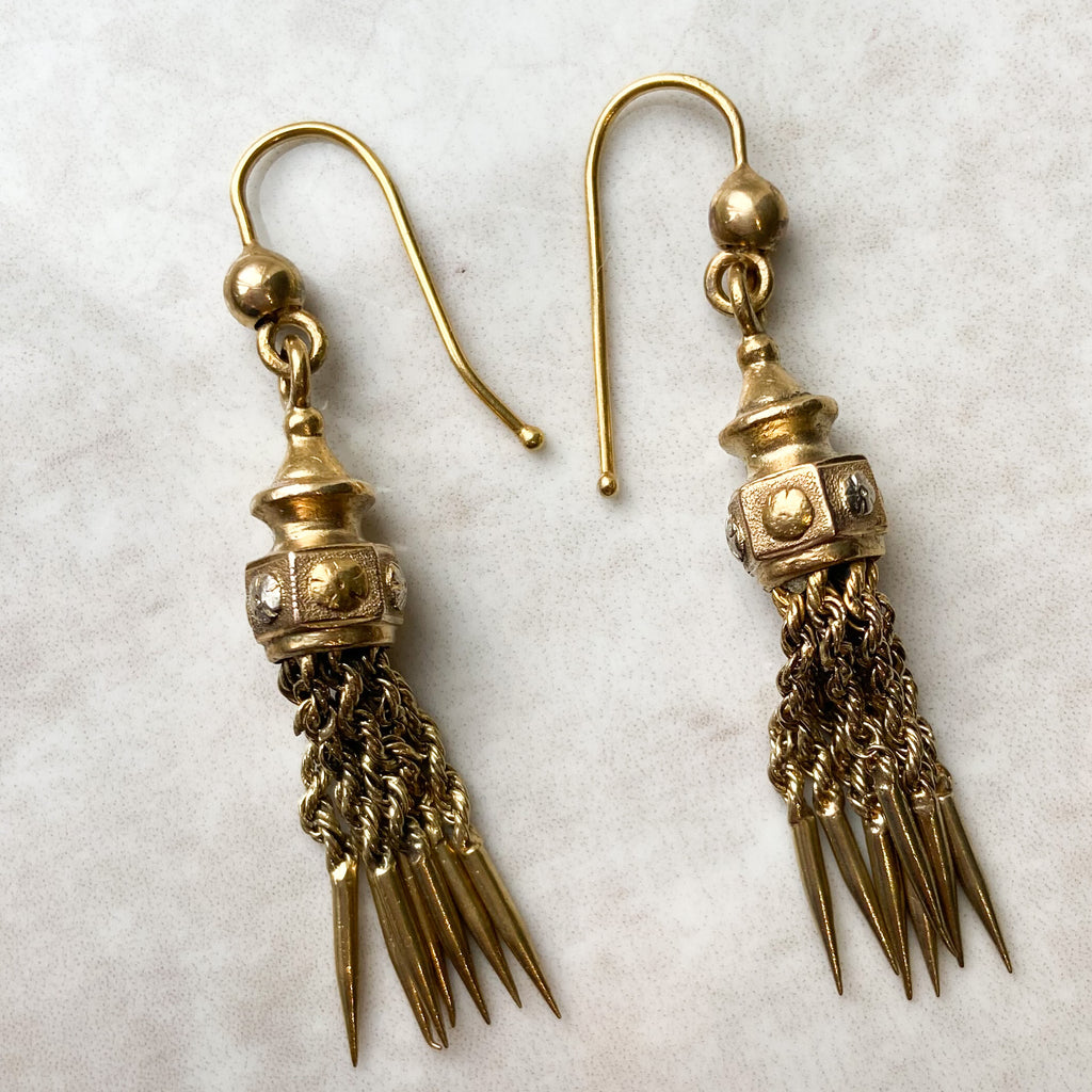 Victorian Tassle Drop Earrings, 15ct Gold