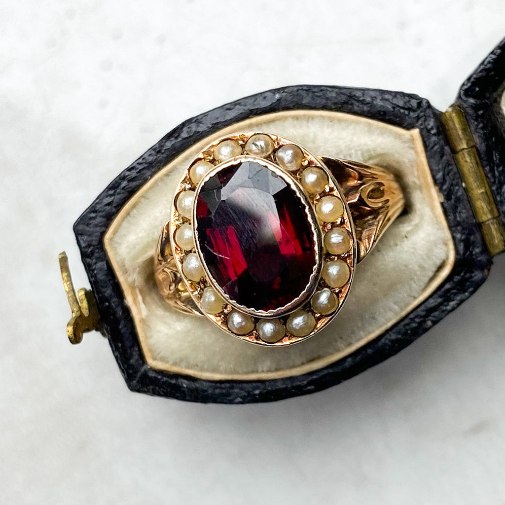 Garnet and Pearl Victorian Ring