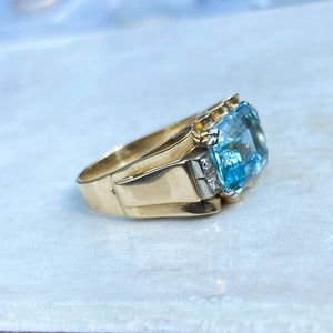 Vintage, 6ct Aquamarine and Diamond Chunky 14ct Gold Cocktail Ring
