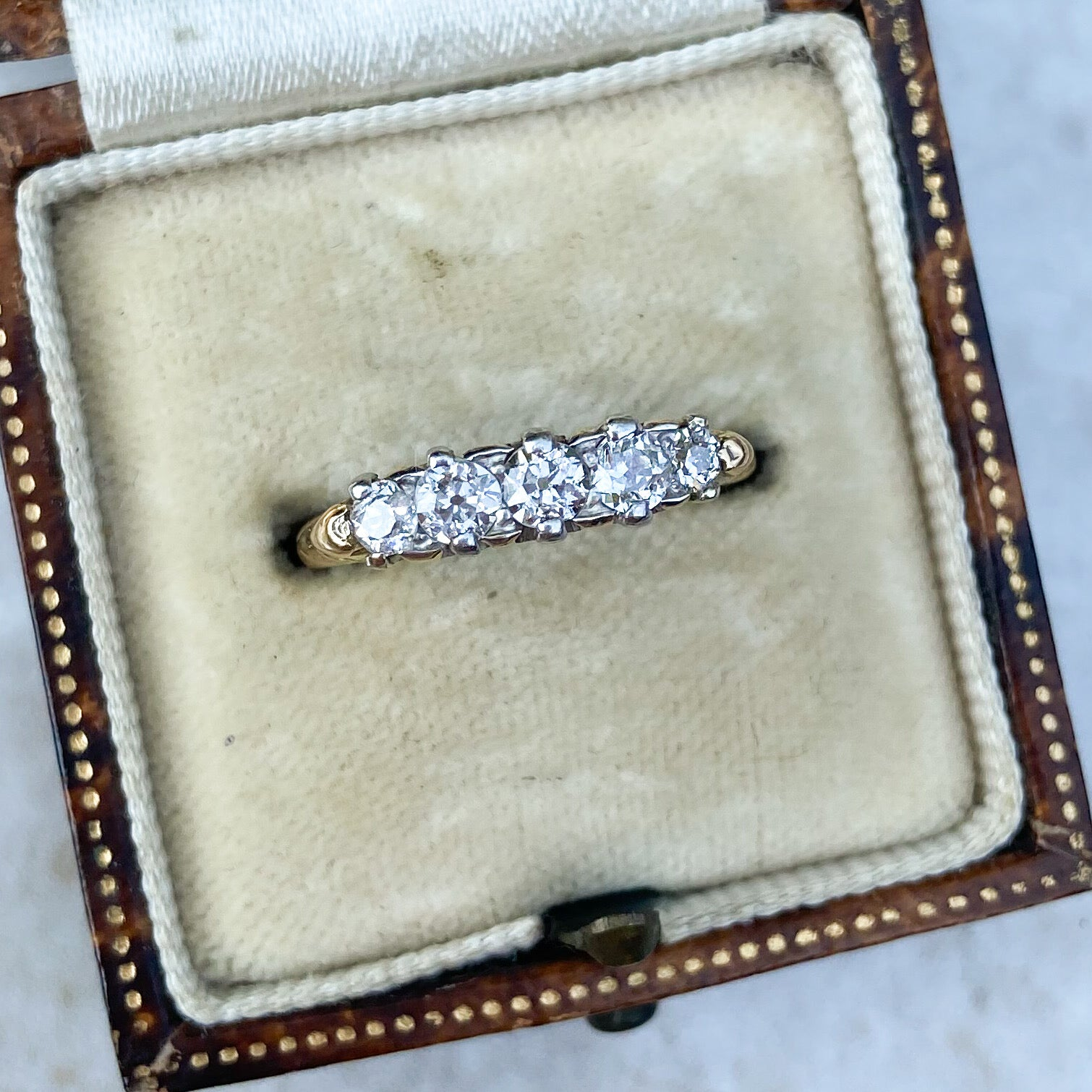 Vintage 5 Stone Line Ring, 0.50ct, 18ct Gold and Platinum