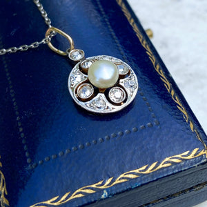 Edwardian Natural Pearl and Diamond Pendant, Platinum