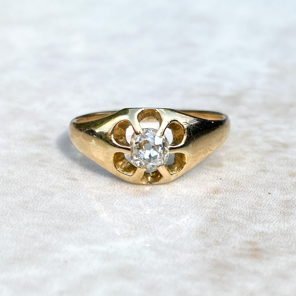 0.30ct Diamond Buttercup Gypsy Ring; 18ct Gold.
