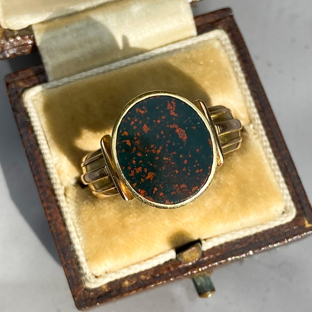 Victorian Bloodstone and 15ct Gold Large Signet Ring; 1882.