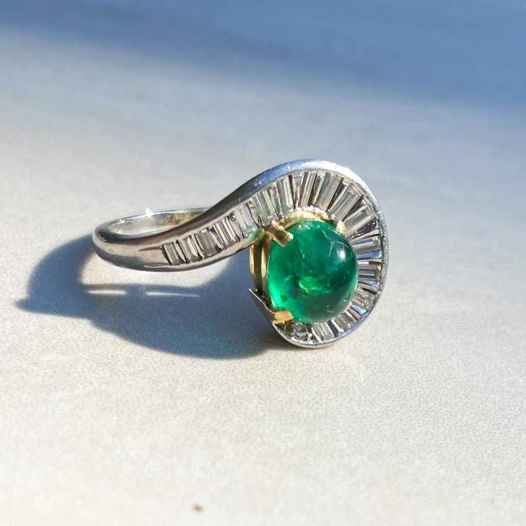 Vintage Cabochon Emerald and Diamond Platinum Cocktail Ring