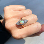 Opal and Diamond Navette Ring, late Victorian