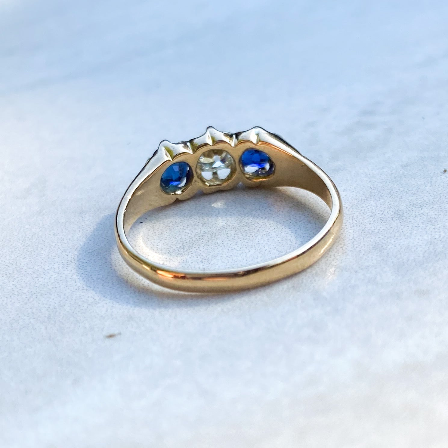 Sapphire and Diamond 3 Stone Ring; date 1806