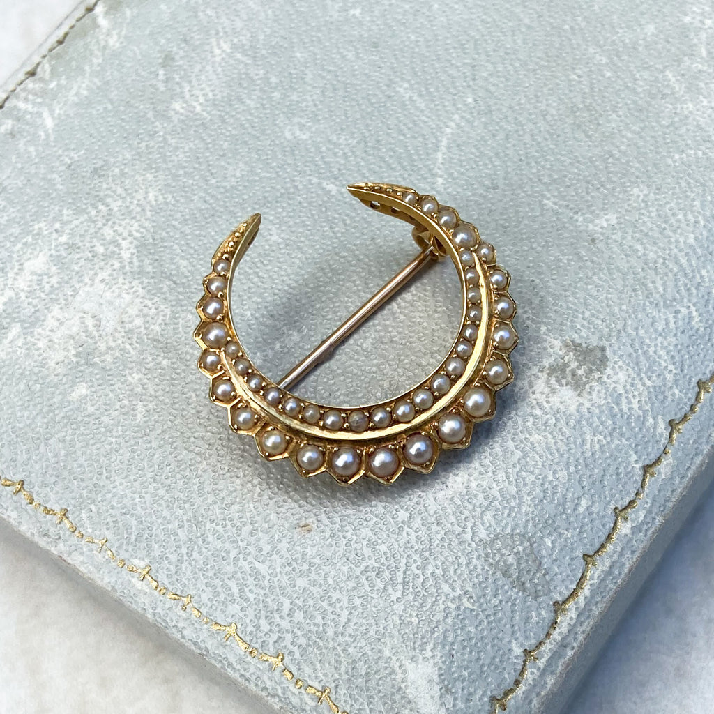 Pearl and Gold Crescent Brooch; Victorian