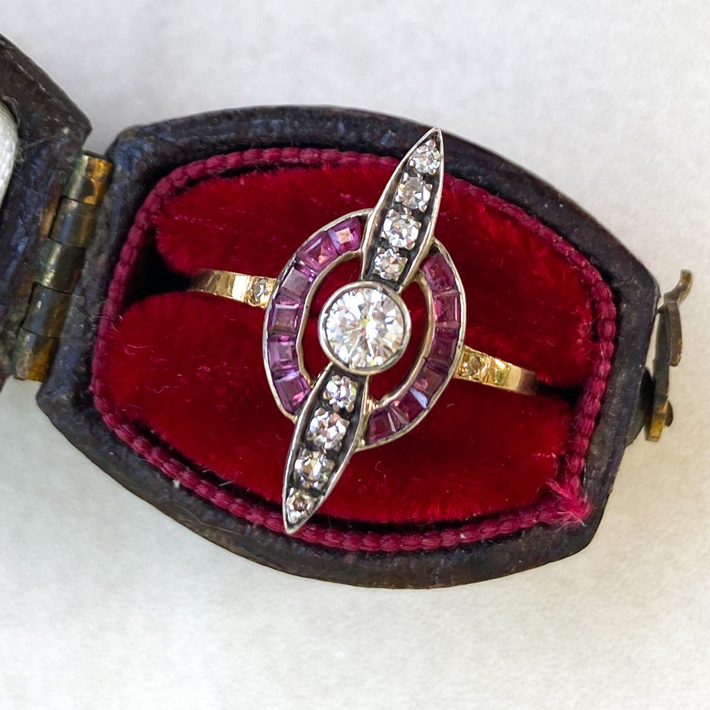 Art Deco Ruby and Diamond 'Propeller' Ring, 18ct Gold