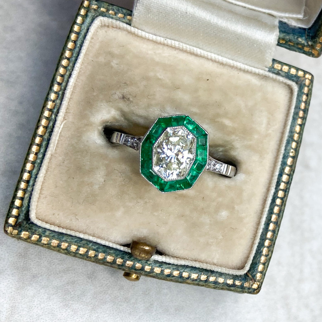 1.03ct Diamond and Emerald Marquise Ring, in an Art Deco Style
