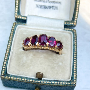 18ct Gold and Garnet 5 Stone Victorian Ring