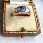 Sapphire and Diamond Vintage Gypsy Ring