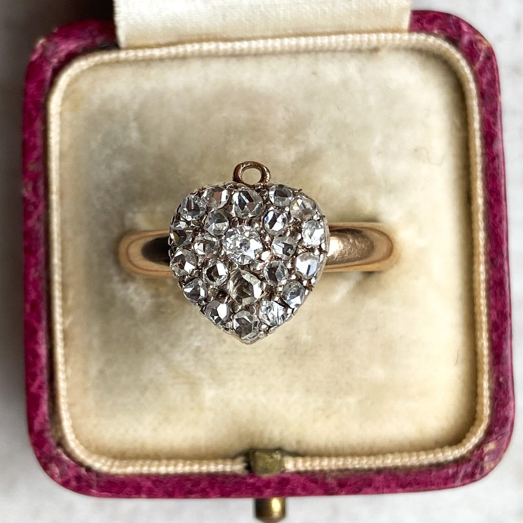 Diamond Heart Pendant Ring; Victorian