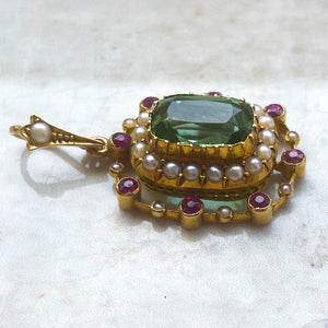 Tourmaline, Pearl and Ruby Victorian Pendant