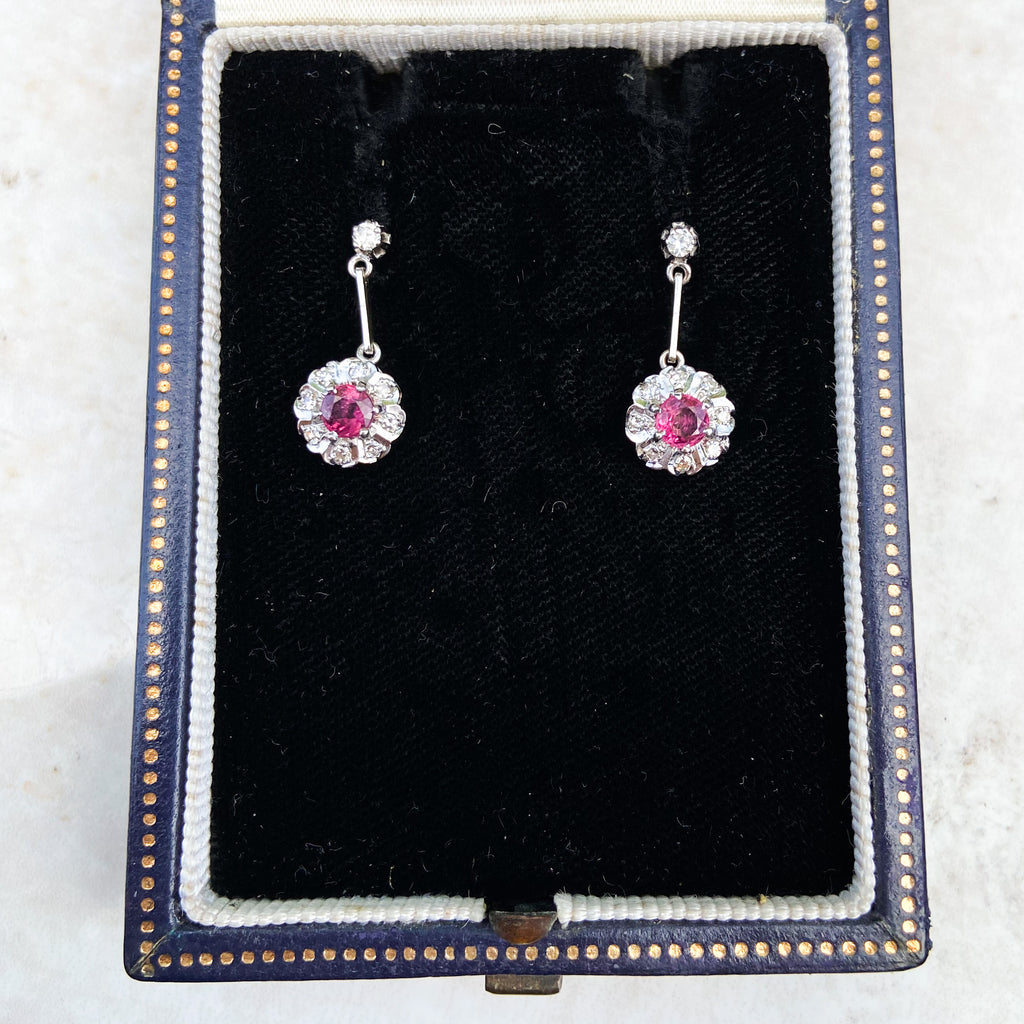 Vintage Diamond and Ruby Drop Earrings