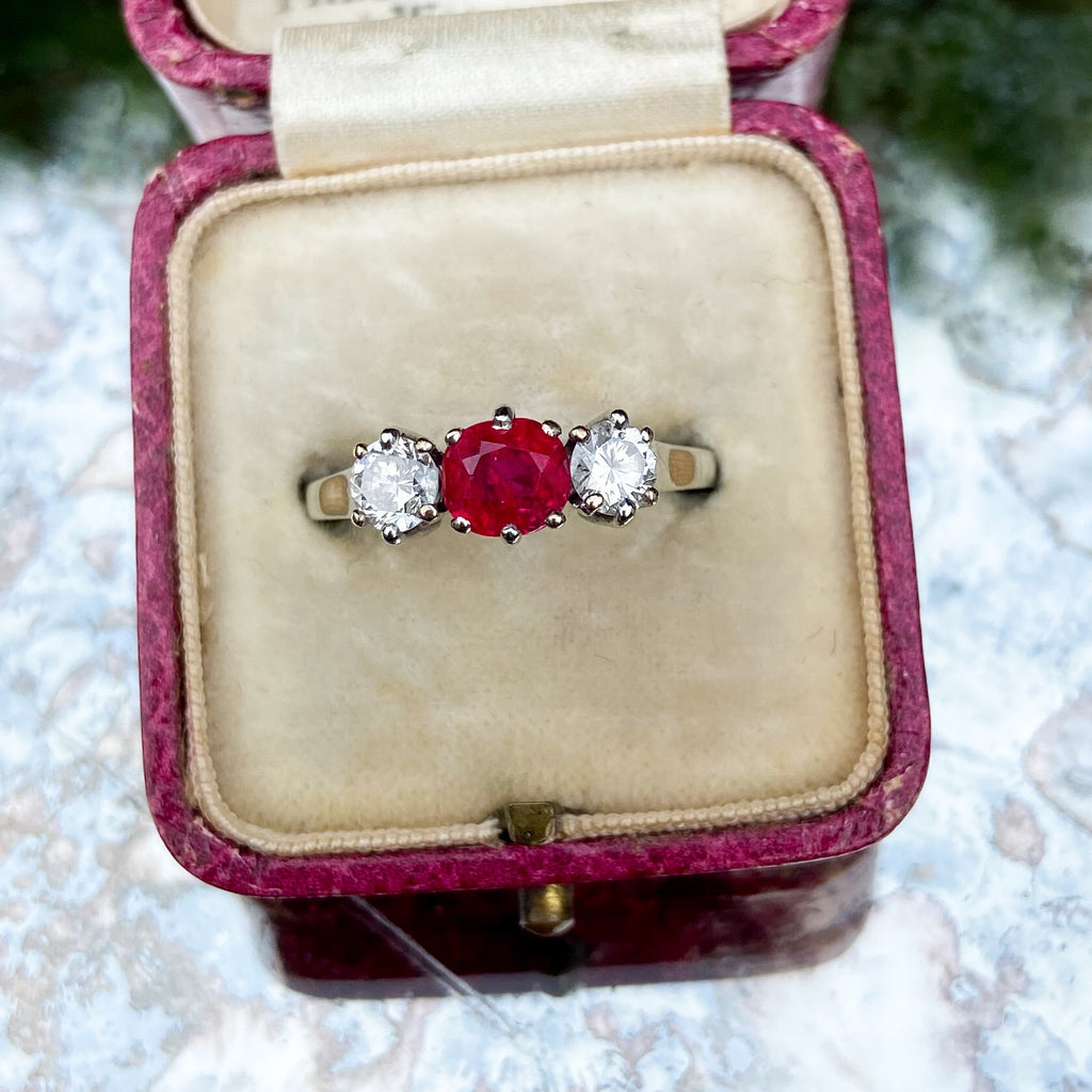 Unheated Burma Ruby and Diamond Ring