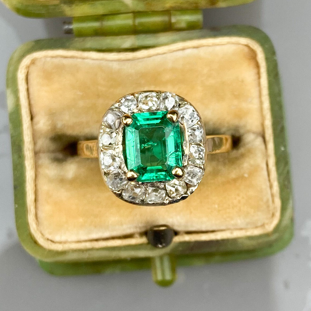1.00ct Colombian Emerald and Diamond Cluster Ring