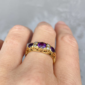 Victorian, 0.80ct Amethyst and Diamond Ring