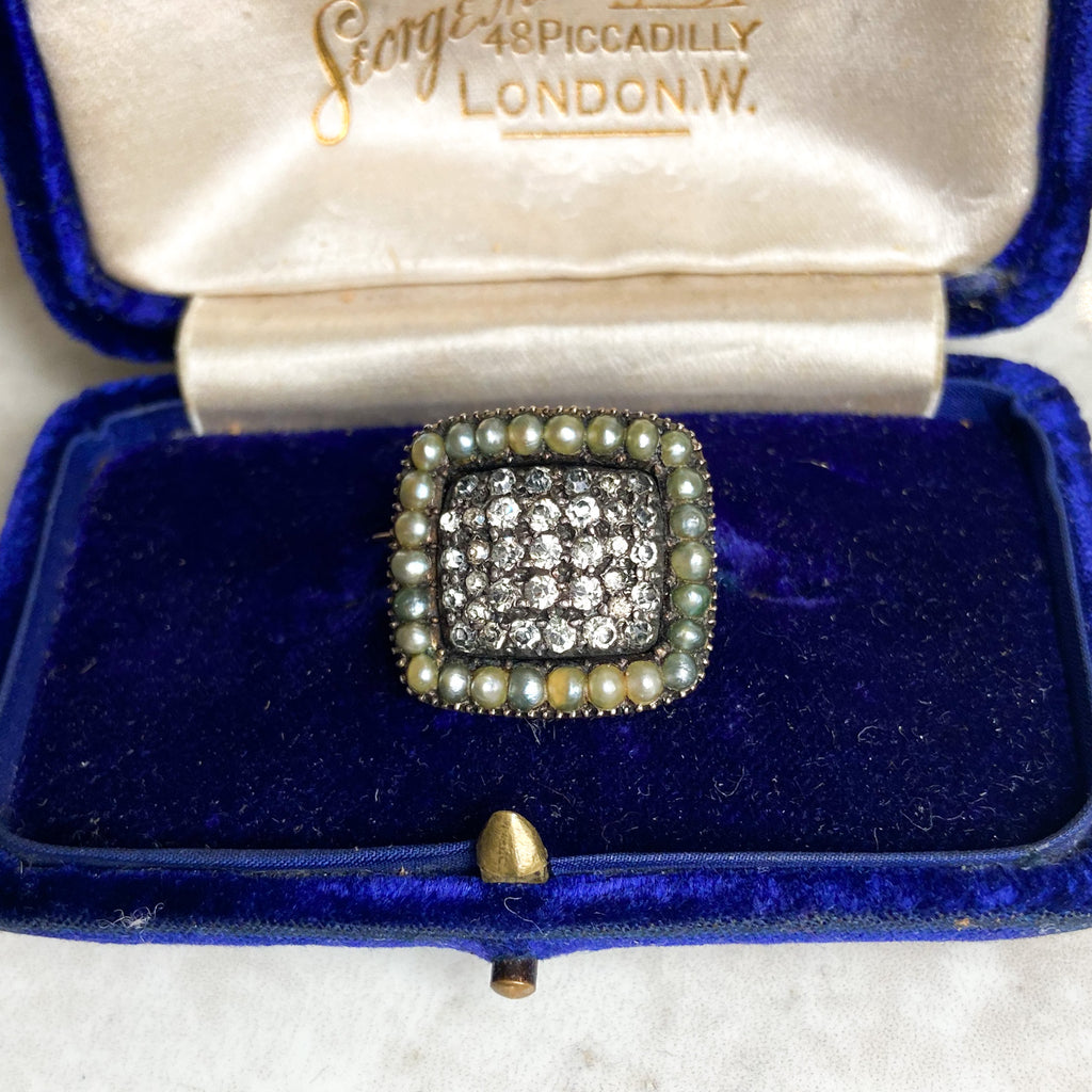 Georgian Pearl and Diamond Paste Panel Brooch