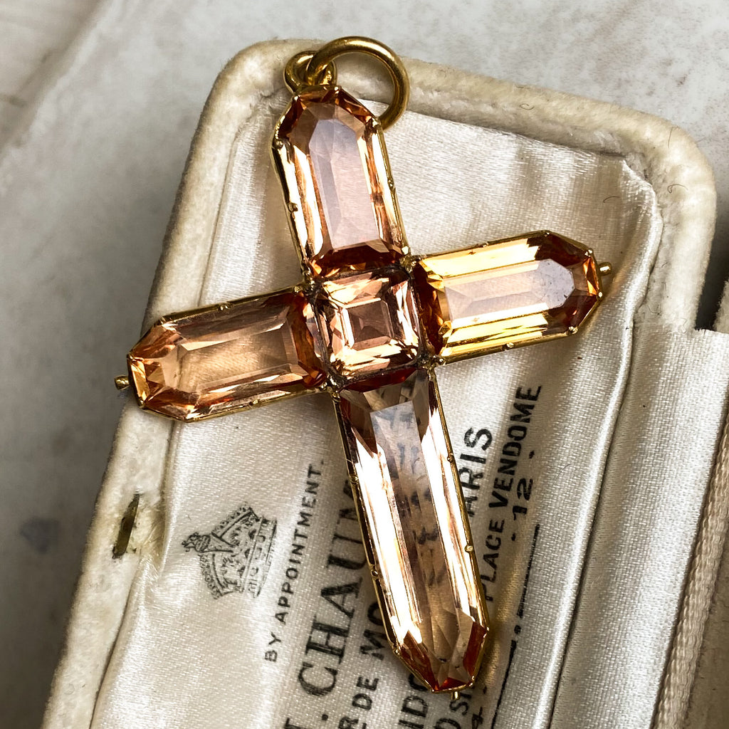 Georgian Gold and Yellow Topaz Cross Pendant