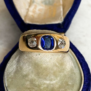 18ct Gold, Unheated Sapphire and Diamond Gypsy Ring, c. 1883